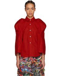 Comme des Garçons - Red Sculptural Sleeve Shirt - Lyst