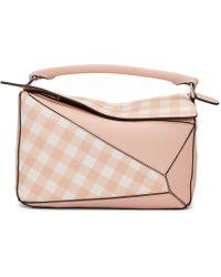 Loewe - Pink Gingham Puzzle Bag - Lyst