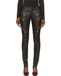 Jay Ahr - Black Grained Leather Zipped Trousers - Lyst