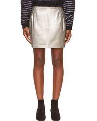 BLK DNM   Silver Leather Mini Skirt   Lyst
