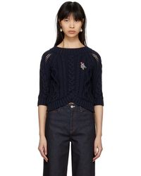 Carven - Navy Cable Crop Sweater - Lyst