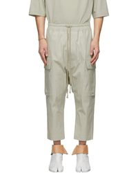 Rick Owens - Grey Drawstring Cropped Cargo Trousers - Lyst