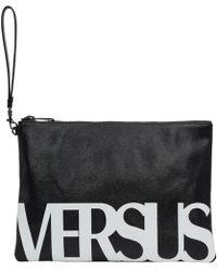 Versus - ブラック And ホワイト ロゴ ジップ ポーチ - Lyst