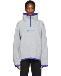 ADER error - Grey Fleece Label String Zip-up Sweater - Lyst