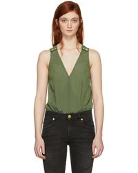 Balmain   Khaki V-neck Bodysuit   Lyst