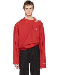 Vetements - Red Champion Edition Cut Out Neckline Pullover - Lyst