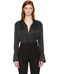 Kiki de Montparnasse - Black Silk Wrap Bodysuit - Lyst