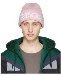 Versace - Pink Wool Logo Beanie - Lyst