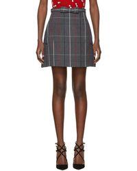 Miu Miu - Grey Plaid A-line Pockets And Bow Miniskirt - Lyst