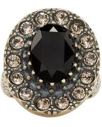 Alexander McQueen - Gold And Black Jewelled Ring - Lyst