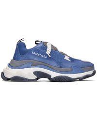 Balenciaga - Baskets bleues et grises Triple S - Lyst