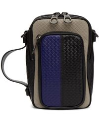 Bottega Veneta - Blue And Grey Micro-intrecciato Embossed Messenger Bag - Lyst