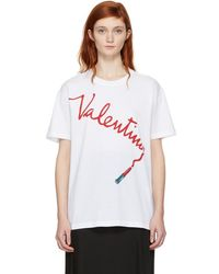 Valentino - White Lipstick Logo T-shirt - Lyst