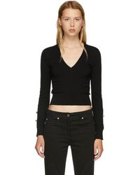 Versus - Black Buttons V-neck Jumper - Lyst