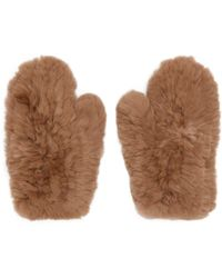 Yves Salomon - Beige Fur Handwarmer Gloves - Lyst