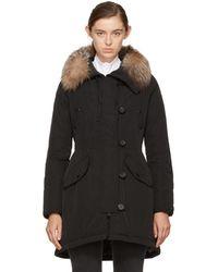 Moncler - Black Down & Fur Arehdel Coat - Lyst