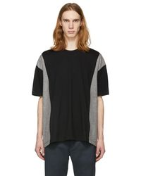 Comme des Garçons - Black And Grey Colorblock T-shirt - Lyst