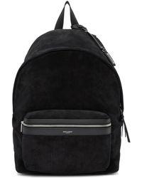 Saint Laurent - Black Suede City Backpack - Lyst