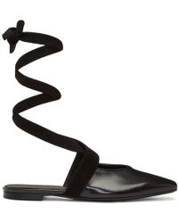 JW Anderson - Black Lace-up Ballerina Flats - Lyst