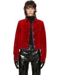 MM6 by Maison Martin Margiela - Red Denim Flocked Jacket - Lyst