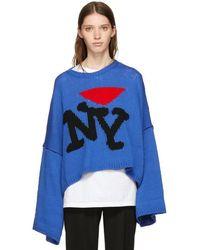 Raf Simons | Blue Oversize 'i Love Ny' Sweater | Lyst