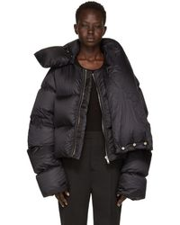 Rick Owens - Black Down Funnel Neck Coat - Lyst