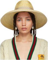Gucci   Beige Straw Wide-brim Hat   Lyst