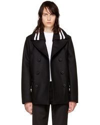 Givenchy - Black Knit Collar Peacoat - Lyst