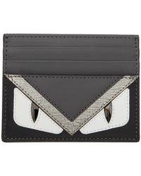 Fendi - Black And Silver Bag Bugs Card Holder - Lyst