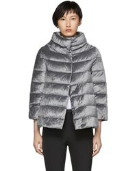 Herno - Silver Down Shimmering Cape Jacket - Lyst