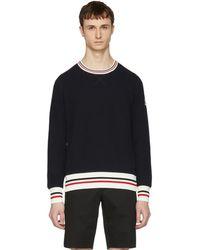 Moncler Gamme Bleu - Navy Waffle Knit Logo Sweater - Lyst