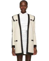 Balmain - Off-white Tie-up Cardigan - Lyst