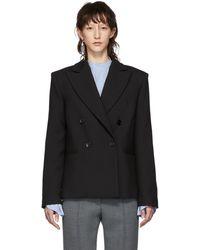MM6 by Maison Martin Margiela - Black Wool Double-breasted Blazer - Lyst
