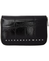 Alexander Wang - Black Croc Dime Compact Wallet - Lyst