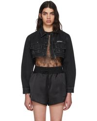Off-White c/o Virgil Abloh - Black Denim Zipped Cropped Jacket - Lyst