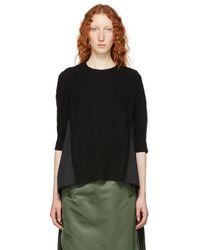 Sacai - Black Wool And Cotton Poplin Sweater - Lyst