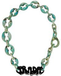 Prada - グリーン ロゴ チャンキー ネックレス - Lyst
