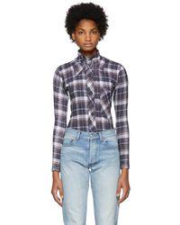 Vetements - White Check Shirt-print Bodysuit - Lyst