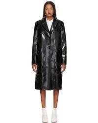Jil Sander Navy - Black Faux-leather Coat - Lyst