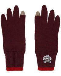 KENZO - Burgundy Tiger Crest Gloves - Lyst