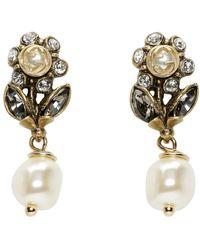 Gucci - Gold Flowers Drop Earrings - Lyst