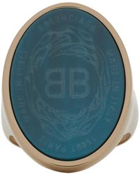 Balenciaga - Blue And Gold Oval Chevaliere Ring - Lyst
