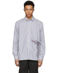 D by D - Black And White Striped Embroidered Shirt - Lyst