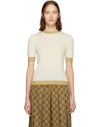 Gucci - Off-white And Gold Cashmere Sweater - Lyst
