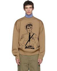 JW Anderson - Tan Policeman Sketch Crewneck Sweater - Lyst