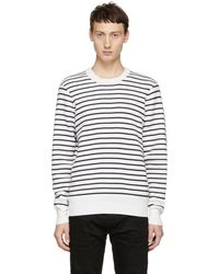 Rag & Bone - White And Navy Striped Crewneck Sweater - Lyst
