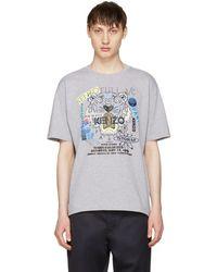 KENZO - Grey 'flyer X Tiger' T-shirt - Lyst