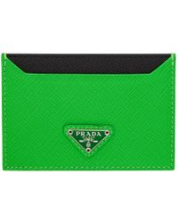 Prada - Green Triangle Logo Card Holder - Lyst