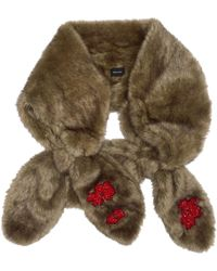 Simone Rocha - Beige Faux-fur Beaded Double Bow Scarf - Lyst