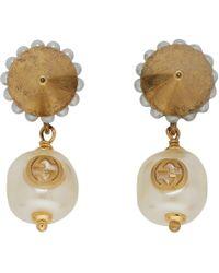 Gucci - Gold Interlocking G Pearl Earrings - Lyst